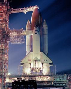 The Space Shuttle Columbia on the launch pad at Cape Canaveral, February 1982.                                                                                                                                                                                 More