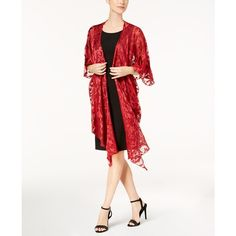 Steve Madden Baroque Burnout Draped Evening Wrap ($29) ❤ liked on Polyvore featuring accessories, scarves, red, wrap scarves, evening shawls, evening scarves, wrap shawl and evening wrap shawl