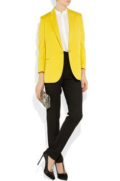 I'm starting to really love this bold color trend. Especially when the accent piece is a yellow blazer with black pants. Stella McCartney Slub-twill blazer. //     I agree. Sleek. ~ Di.