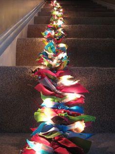 Tie ribbons between mini lights -