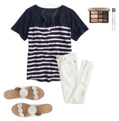 """""""trying to come up with an idea for my creative writing assignment """" by preppinessandpearls ❤ liked on Polyvore featuring J.Crew, Jack Rogers, philosophy and Kendra Scott"""
