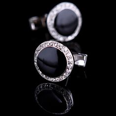 Black Enamel Centered Cufflinks