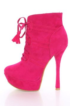 $24.99  Fuchsia Faux Suede Lace Up Front Heel Ankle Boots @ Amiclubwear Boots Catalog:women's winter boots,leather thigh high boots,black platform knee high boots,over the knee boots,Go Go boots,cowgirl boots,gladiator boots,womens dress boots,skirt boots,pink bo