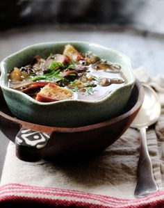 Mushroom soup with dried porcini and crimini mushrooms, and Marsala wine Stuffed Mushrooms, Wine Recipes, Soup Recipes, Recipies, Italian Dishes, Italian Recipes, Marsala Mushrooms, Marsala Recipe, Gourmet