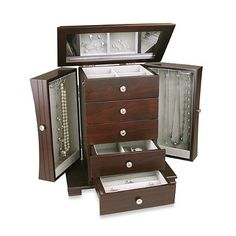 reputable site 47cba 72c6e Organize your jewelry and accessories with the seven compartments in this  contemporary wooden jewelry box. Drawers with ring holders and sectioned ...