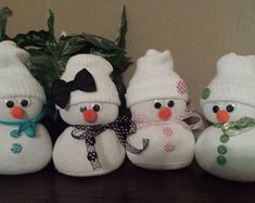 Handmade Finished Made to Order Sock Snowman. Measures approximately 7 x You choose the basic color and I will make it brand new. The basic color will be the same as pictured but the button designs may not be the same as pictured. Price is for 1 snowman. Sock Snowman Craft, Sock Crafts, Snowman Crafts, Easy Diy Crafts, Diy Christmas Decorations Easy, Diy Christmas Ornaments, Christmas Crafts To Make, Holiday Crafts, Crafts For Seniors