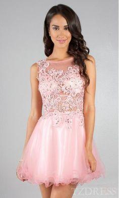 Elegant Bateau Natural Sleeveless Short Prom Dress Cheap tzdress5671
