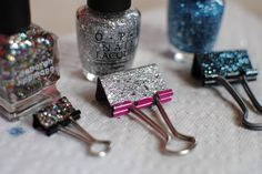 Sequins and Pearls: DIY: Glittery Binder Clips! Great way to use up old nail polish.
