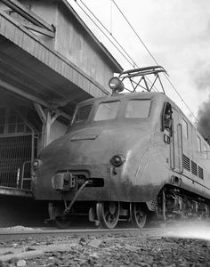 Close up of the express engine Tsubame in Tokyo station on April 19, 1950.
