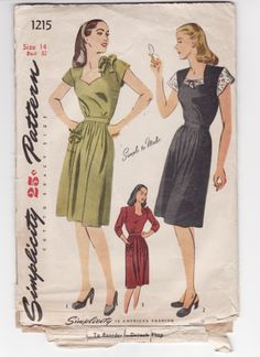 Simplicity 1215; Bust 34 Circa 1940's; Misses and Women's One piece Dress: The bodice has a smartly shaped neckline and gathers at the lower edge. A slim inset belt releases soft fullness in the skirt front and the skirt back is seamed on either side of the center. Style I has brief sleeves. A self fabric bow trims the shoulder and patch pocket. In style II, the yoke and very short sleeves are made of eyelet edging or contrasting fabric