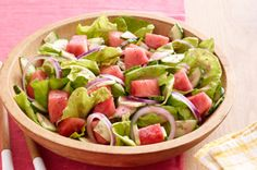 Our Watermelon Salad recipe combines watermelon, cucumbers, red onions and creamy poppyseed dressing for a delicious and refreshing salad. Perfect for summer gatherings, this easy-to-make salad is sure to become a new family favourite. Kraft Foods, Kraft Recipes, Watermelon Salad Recipes, Fruit Salad, Cooking Recipes, Healthy Recipes, Easy Recipes, Dishes Recipes, Dressings