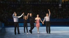 Canadians take a bow at the Sochi Exhibition Gala. L-: Patrick Chan (men); Kirsten Moore-Towers/Dylan Mostkovich (pairs); Tessa Virtue/Scott Moir (dance)