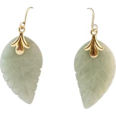 14K Gold Jade Earrings from anntiquesandfinejewelry on Ruby Lane