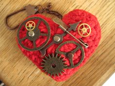 steampunk crochet heart front by Desertmountainbear, via Flickr