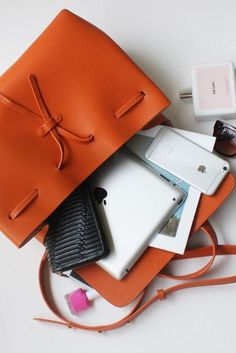 Orange Leather Bucket Handbag and Crossbody Bag