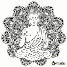 Buddha Tattoo Design, Buddha Tattoos, Buddha Painting, Buddha Art, Black And White Posters, Black And White Drawing, Zen Meditation, Wrist Tattoos For Guys, Hindu Art