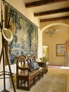 Mediterranean Hall Design, Pictures, Remodel, Decor and Ideas. I so love the wall hanging.