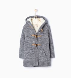 Knitted three quarter length jacket with hood