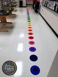 Art with Mrs. Nguyen  Line-Up Dot Spots to help kindergarteners line up in art class! Art Classroom Decor, Art Classroom Management, Kindergarten Classroom Decor, Preschool Rooms, First Grade Classroom, New Classroom, Classroom Design, Classroom Ideas, Classroom Rugs