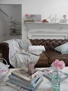 brown leather, shabby chic, bursts of color...