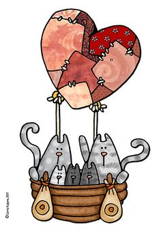 Los gatitos aman viajar en globo