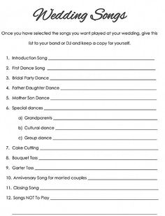 Wedding Checklist Little Things Favors wedding songs checklist - These printable wedding checklists will make all your planning so much easier. Wedding Planning Tips, Budget Wedding, Plan Your Wedding, Wedding Tips, Wedding Events, Event Planning, Themed Weddings, Wedding Locations, Wedding Stuff