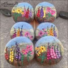 Felted garden landscapes soaps. Cold process handcrafted soaps encased in wool and needle felted to create the floral garden design. Great gift idea! By Alaiyna B. Bath and Body.