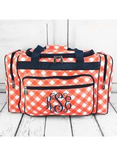 www.ewam.com Coral and White Diamond Gingham Duffle Bag with Navy Trim