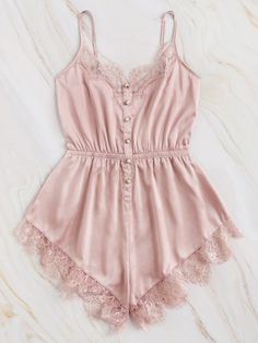 To find out about the Lace Trim Satin Cami Romper at SHEIN, part of our latest Sexy Lingerie ready to shop online today! Lingerie Outfits, Lingerie Sleepwear, Lingerie Set, Nightwear, Bodysuit Lingerie, Night Outfits, Cute Outfits, Outfit Night, Pijamas Women