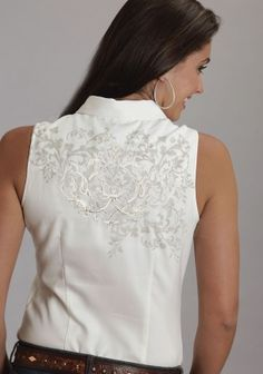 Hot & Classy : Sleeveless Embroidered Western Shirt