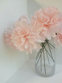 Blush Pink Paper Flowers-Wedding Paper Flower by PaperHeartBlooms