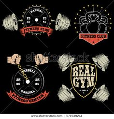 Set of gym and fitness sport club vintage logo on a black background. Fitness Club, Fitness Workout For Women, Fitness Logo, Fitness Sport, Karate, Funny Fitness Motivation, Gym Logo, Fun Workouts, Black Backgrounds