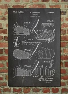 Golf Club Patent Wall Art Poster by PatentPrints on Etsy, $6.99. Every sport and item you can think of.
