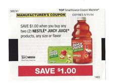 Nestle Juicy Juice Products 05/11/2014 $1.00 on TWO (2)