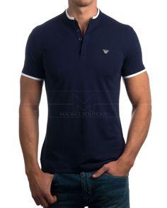 Polos Armani Azul - Cuello Mao Camisa Caballero f68f9edaa6f1c
