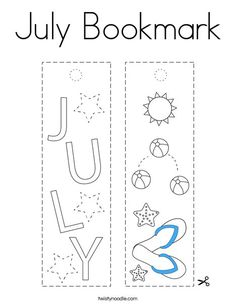 July Bookmark Coloring Page - Twisty Noodle School Sports, Summer Is Here, Kids Prints, Cursive, Noodle, Coloring Pages, English, Letters, Templates
