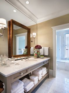 Chicago Greystone - traditional - bathroom - chicago - by Tom Stringer Design Partners Bathroom Mirror Design, Bathroom Styling, Bathroom Interior Design, Small Bathroom, Interior Decorating, Bathroom Ideas, Bathroom Stuff, Upstairs Bathrooms, Boho Bathroom