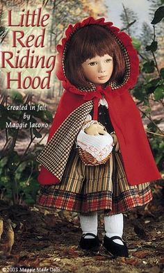 Little Red Riding Hood 16.5 Inch Tall Felt Doll Edition Size: 70 Created in 1996   #Maggie_Iacono_dolls