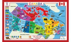 """Canada Placemat by Tot Talk. $7.99. Geography!  Map of Canada with province names, province capital names, bordering countries and water + colorful icons and names. Language and Reading Skills! Colorful pictures with the associated English words. 11.5"""" x 17.5"""" High quality, durable, and washable placemat. Bonus Feature! It's a color pad! Use Dry Erase markers with placemats, and children can play, write, create, draw and wipe clean and start over. Made in the USA!. ..."""
