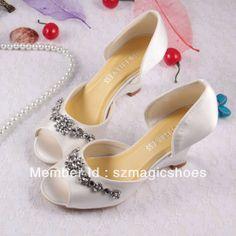 New Model Custom Handmade Ivory Satin Wedge Heel Womens Wedding Bridal Shoes Spring Free Shipping Dropship