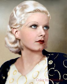 Jean Harlow in color Affenstarke Wunderwaffe. Golden Age Of Hollywood, Vintage Hollywood, Hollywood Glamour, Hollywood Stars, Hollywood Actresses, Classic Hollywood, Jean Harlow, Divas, Classic Movie Stars