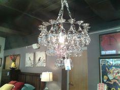 Super unique chandelier--all usable glassware!  #stylecure #goodworksfurniture