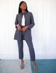 Grey Blue Pinstripe Collared Lonsleeve Jacket with Pockets Grey Pinstripe Suit, Matching Set, Baby Blue, Blue Grey, Charcoal, Suit Jacket, Jumpsuit, Normcore, Menswear