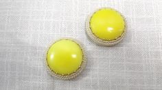 Vintage 60s Yellow and Gold Tone Clip-on Earrings, Large Round Button Clip Ons by OutrageousVintagious on Etsy