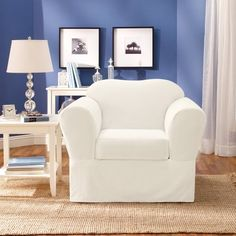 Sure Fit Twill Supreme 2 Piece Chair Slipcover, White By Surefit, Http: