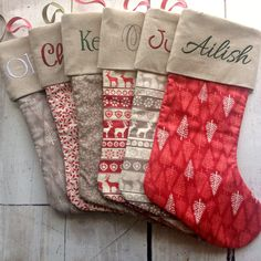 VINTAGE RANGE - Any SIX Stockings From This Collection - Personalised - Choose your Font & Embroidery Colour - Proceeds to Charity