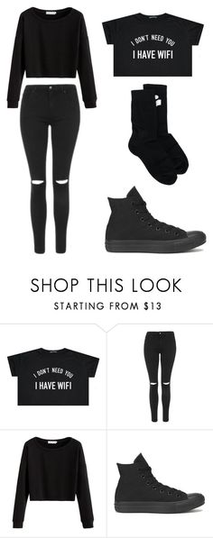 """Black"" by nicoleheggie1 on Polyvore featuring Topshop, Converse and Isabel Marant"