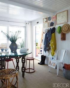 Vintage stools and Hermès towels.