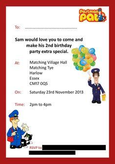 Postman Pat 2nd Birthday Party Invite Boys