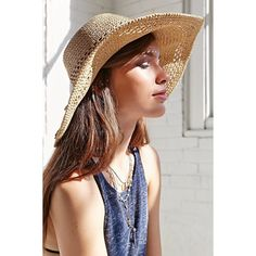 Kimchi Blue Open Weave Floppy Straw Hat ($34) ❤ liked on Polyvore featuring accessories, hats, tan, straw beach hat, floppy hat, floppy straw hat, sun hat and floppy sunhat